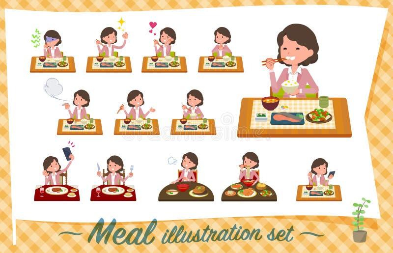Flat type Pink jacket Middle women_Meal royalty free illustration