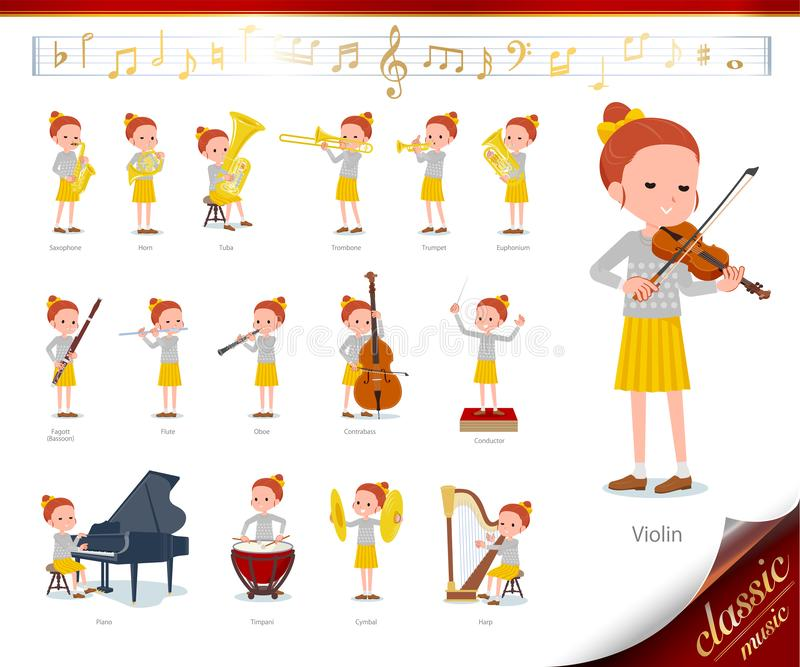 Flat type Polka dot clothes girl_classic music. A set of girl on classical music performances.There are actions to play various instruments such as string royalty free illustration
