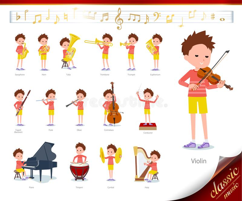 Flat type Red clothing short hair boy_classic music. A set of boy on classical music performances.There are actions to play various instruments such as string royalty free illustration