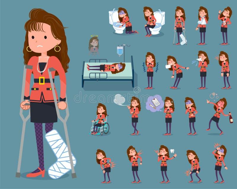 Flat type 90s fashion women_sickness vector illustration