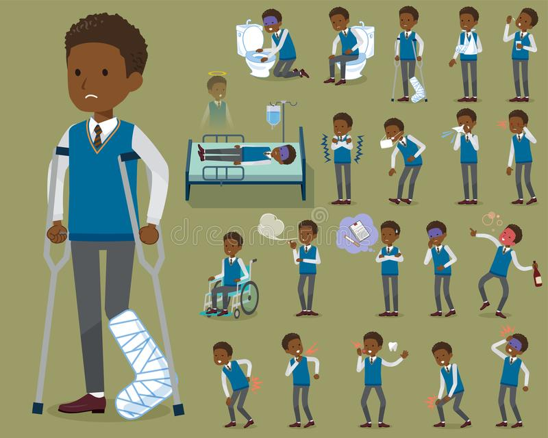 Flat type school boy black_sickness royalty free illustration