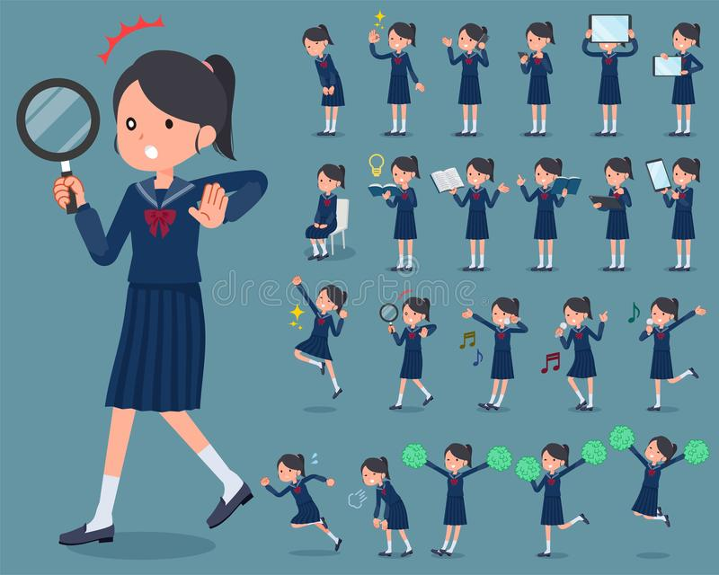 Flat type school girl Sailor suit_2 stock illustration