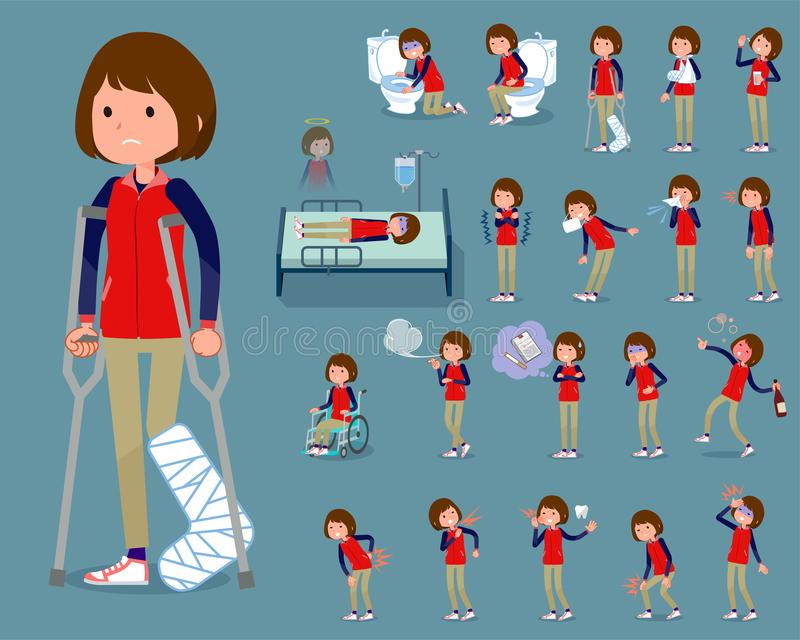 Flat type Store staff red uniform women_sickness vector illustration