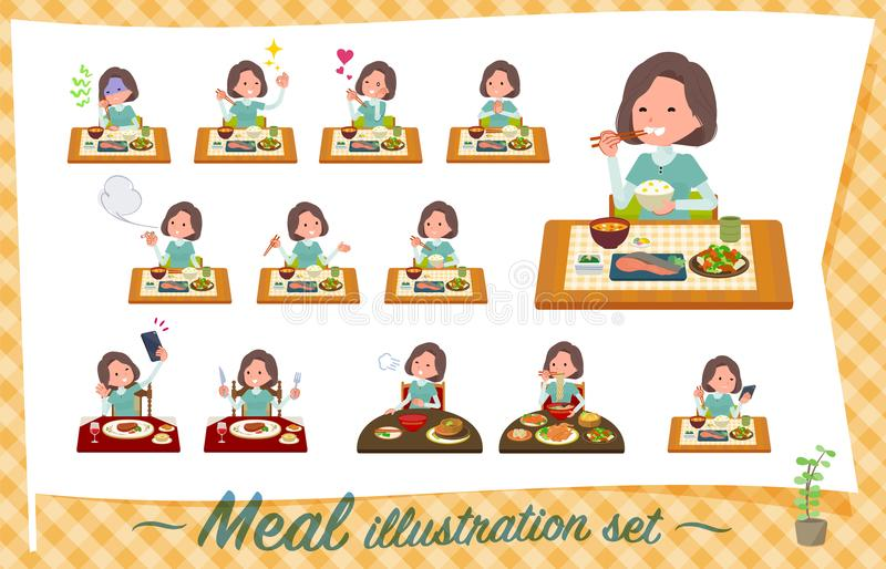 Flat type tunic Middle women_Meal stock illustration