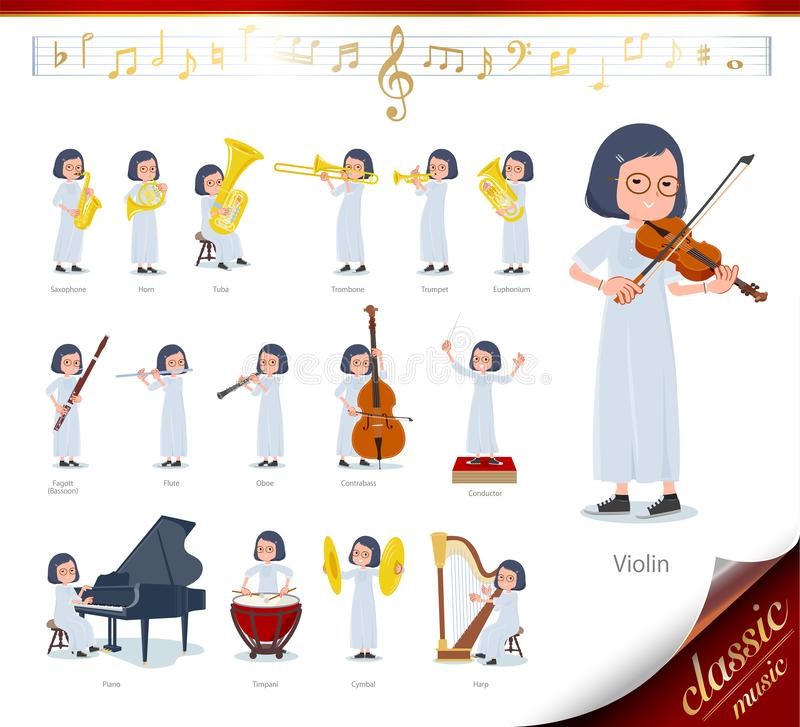 Flat type White dress women_classic music. A set of women on classical music performances.There are actions to play various instruments such as string royalty free illustration