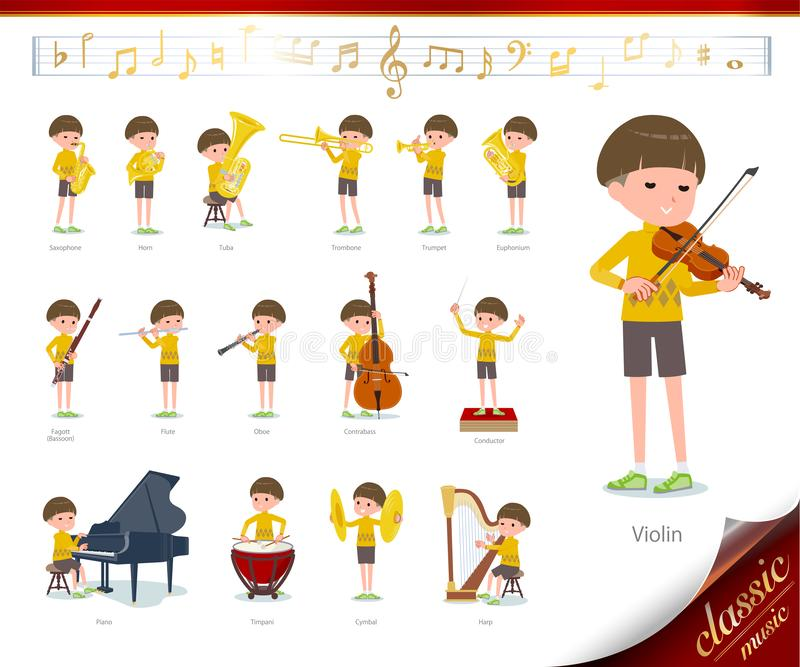 Flat type Yellow clothes Bob hair boy_classic music. A set of boy on classical music performances.There are actions to play various instruments such as string royalty free illustration