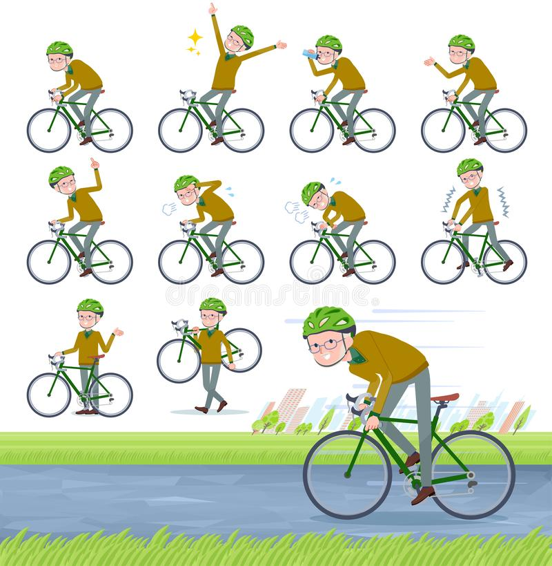 Flat type Yellow knit old man White_road bike. A set of old man on a road bike.There is an action that is enjoying.It`s vector art so it`s easy to edit stock illustration