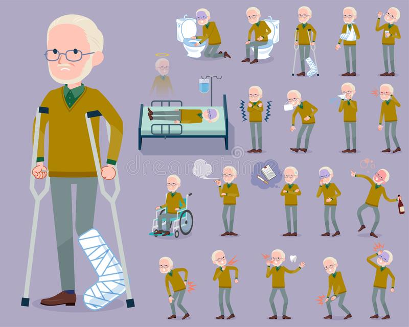 Flat type Yellow Ocher knit old man White_sickness vector illustration