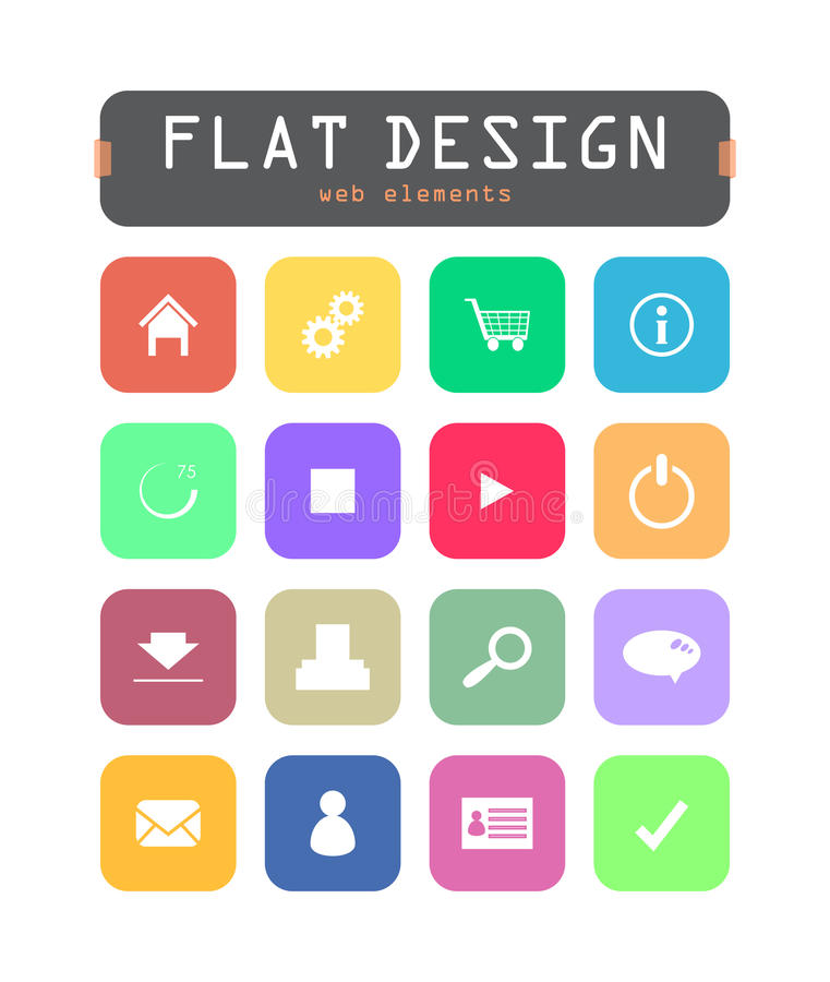 Download Flat ui icons stock vector. Illustration of buttons, interface - 33104690
