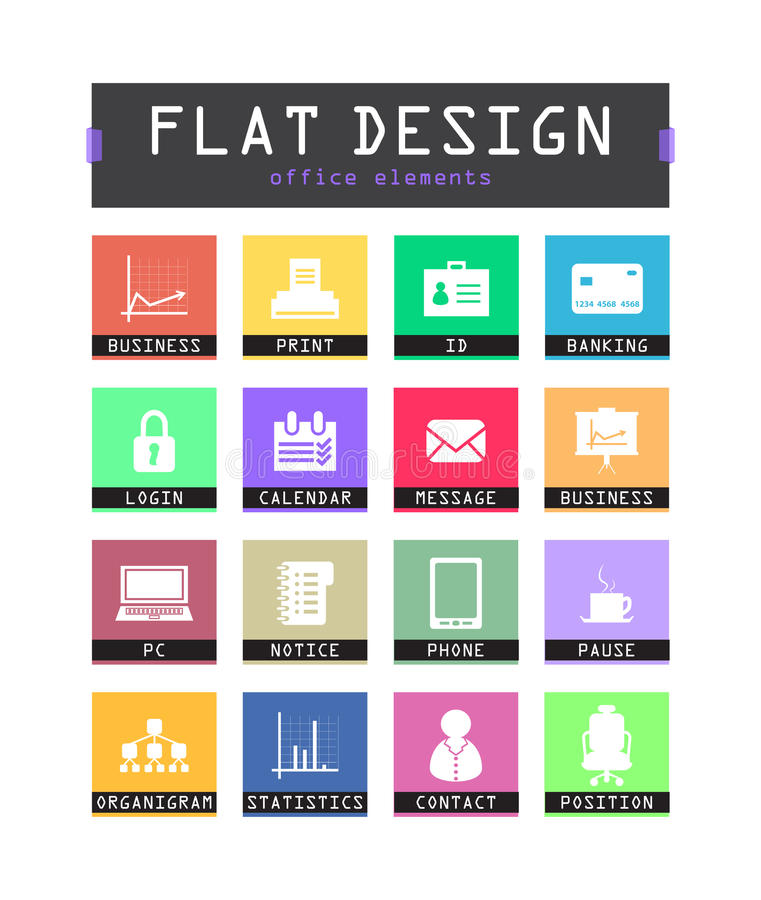 Download Flat ui icons stock vector. Illustration of modern, list - 33104691