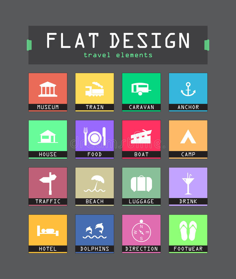 Download Flat ui icons stock vector. Image of flat, design, data - 33104695