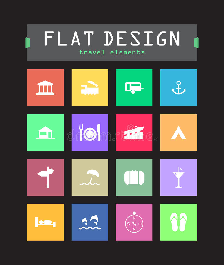 Download Flat ui icons stock vector. Image of anchor, page, data - 33104700