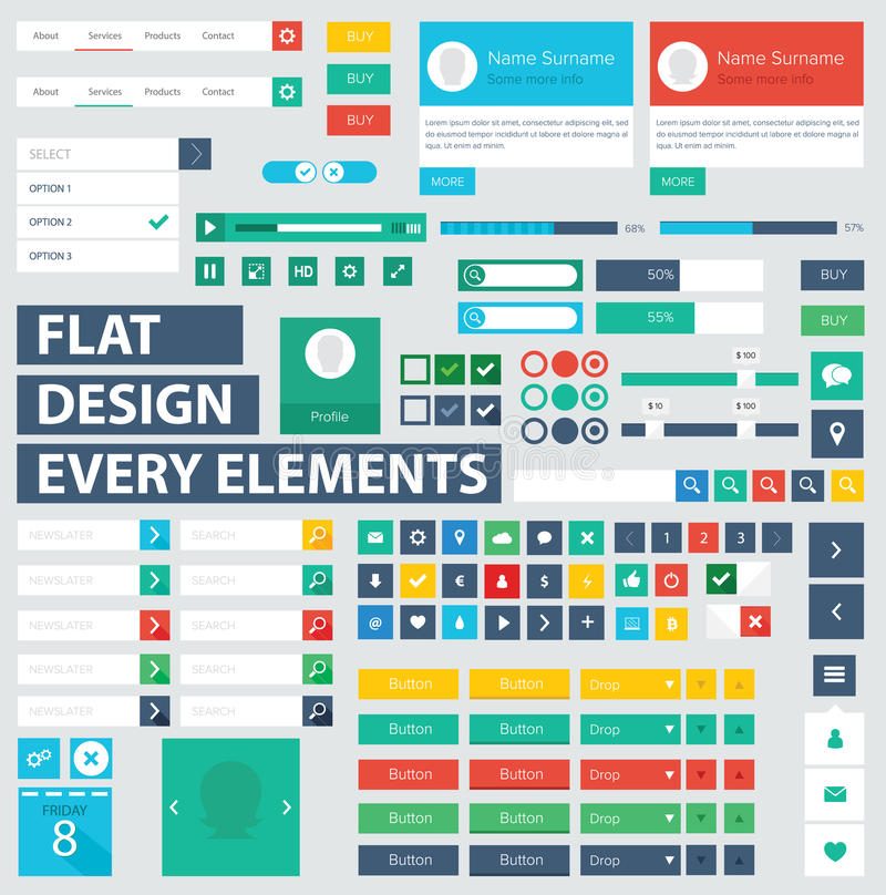 Flat ui kit design elements for webdesign. Style flat ui kit design elements for web design with drop down menu. Flat icons with menu, turn on and turn off royalty free illustration