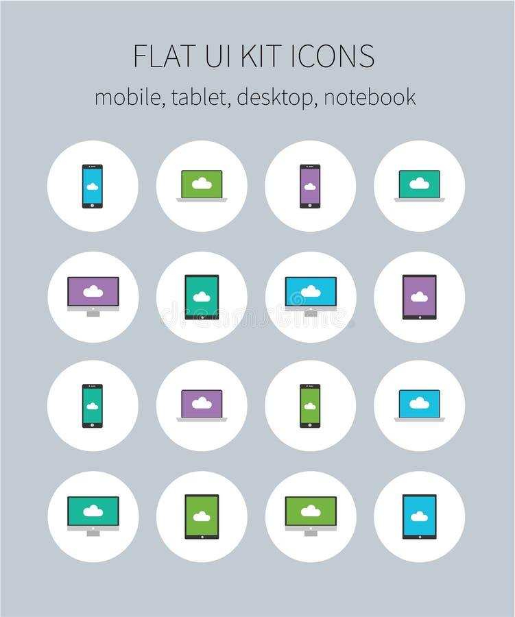 Flat ui kit icons of mobile, tablet, desktop, notebook. Style clean flat design icons of mobile, tablet, desktop and notebook in four colors royalty free illustration