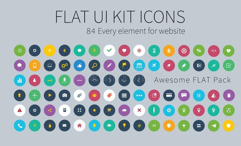 Flat ui kit pack icons for webdesign or mobile design. Style flat icons pack for webdesign or mobile application vector illustration