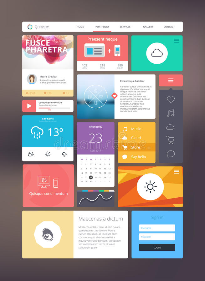 Flat ui kit for responsive web design stock illustration