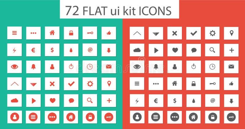 Flat ui kit set icons for webdesign. Style flat icons set for webdesign or mobile application stock illustration