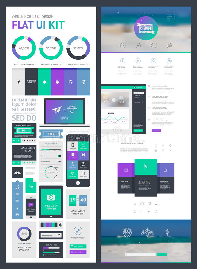 Flat UI Kit for Web and Mobile stock illustration