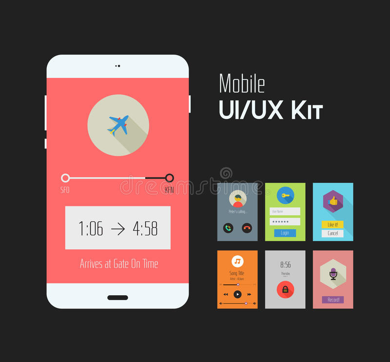 Flat Ui or UX mobile apps kit vector illustration