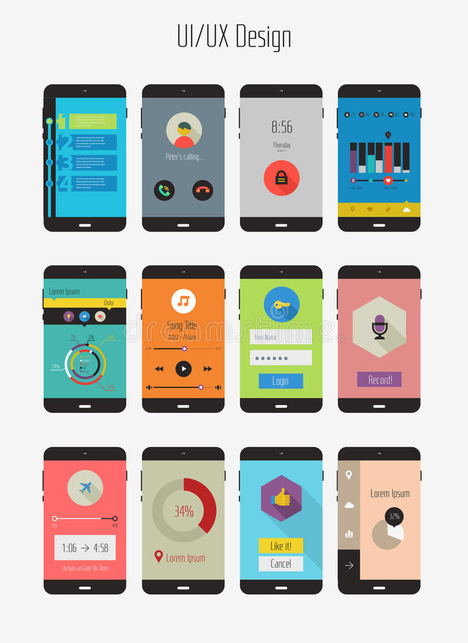 Flat Ui or UX mobile apps kit stock illustration