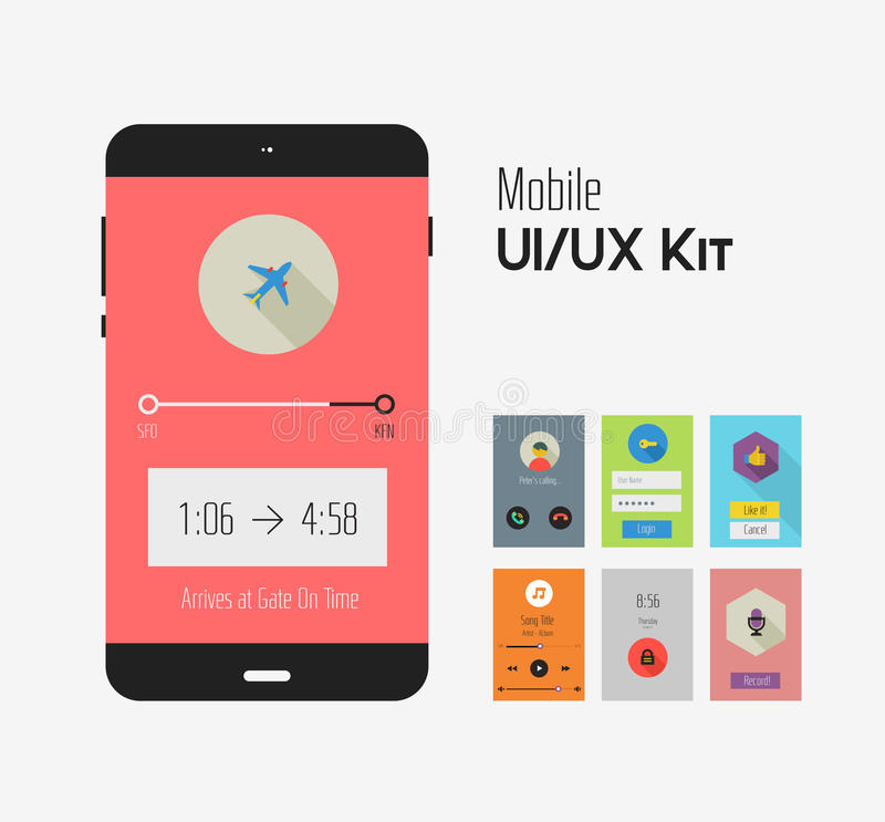 Flat Ui Or UX Mobile Apps Kit Stock Image - Image of infographic ...