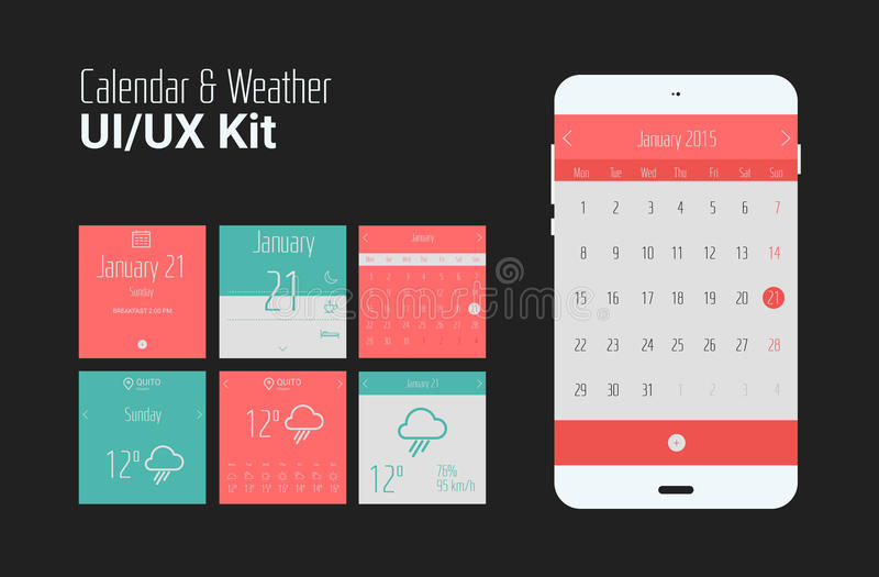 Flat UI or UX mobile calendar and weather apps kit royalty free stock photo
