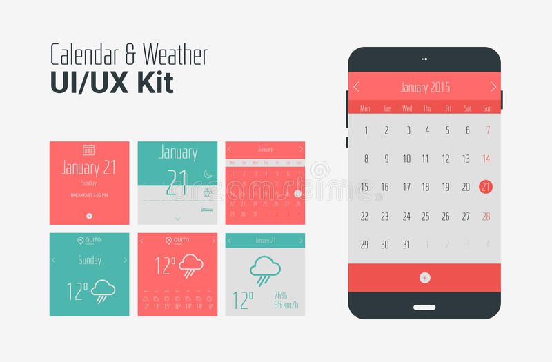 Calendar Design App : Flat ui or ux mobile calendar and weather apps kit stock