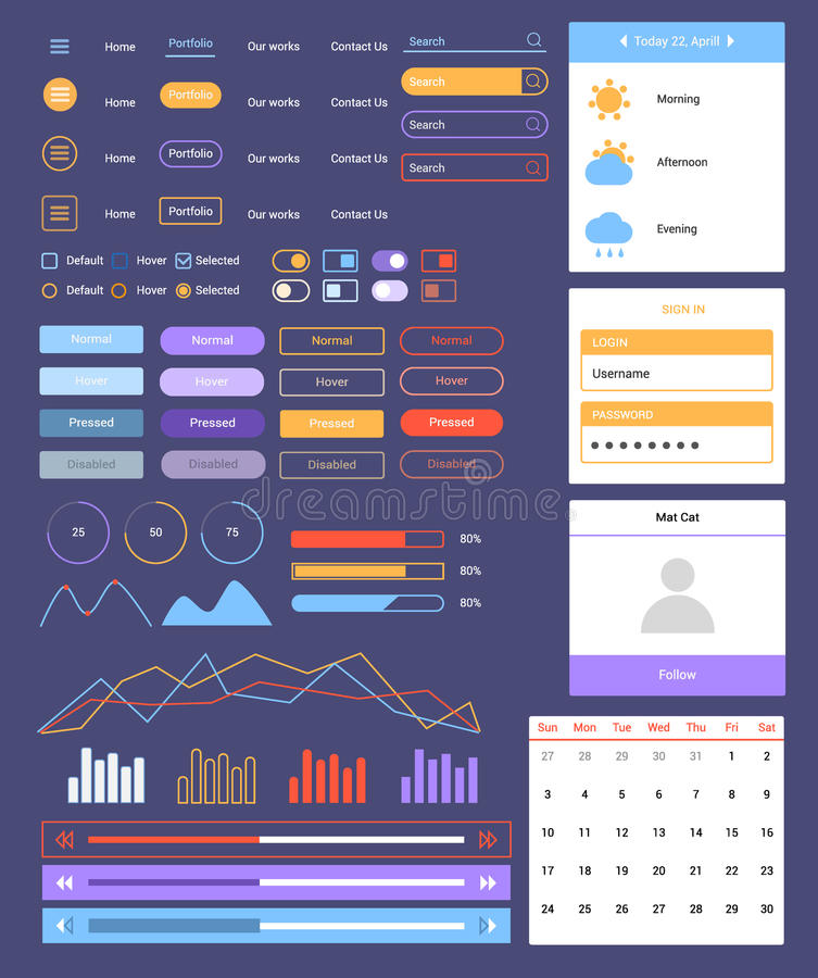 Flat ui Web and Mobile Kit. Ultimate dark web UI elements flat design web elements: Icons, web forms, button, check box, radio button, switch button, Tab and stock illustration