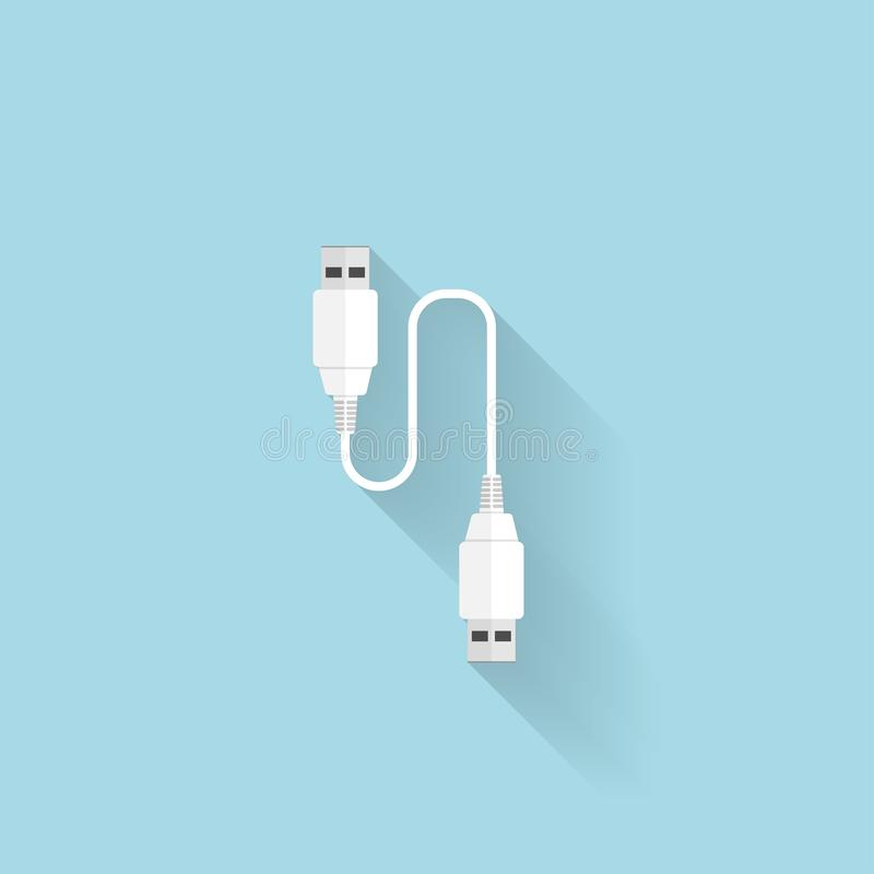Flat USB cable icon for web. Flat USB cable icon for web stock illustration