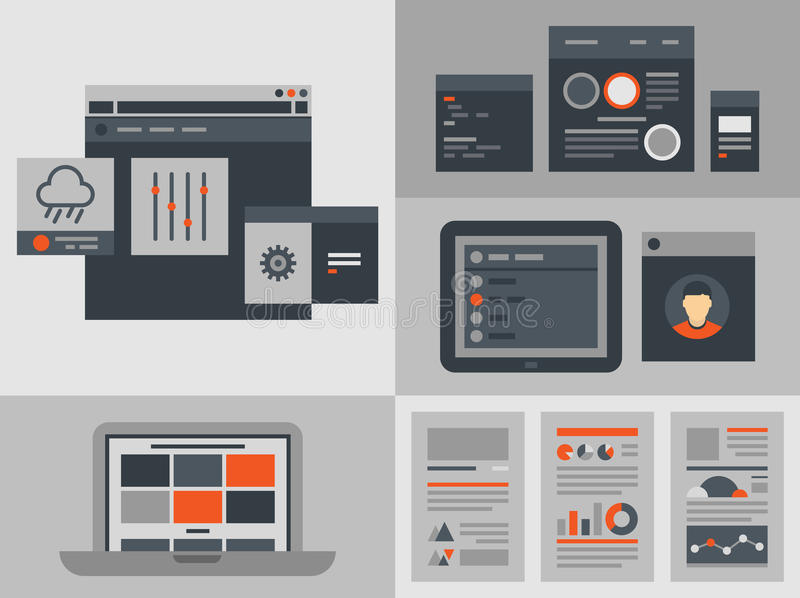 Flat user interface design elements. Modern flat design illustration icons set of buttons, forms, tabs, sliders and other navigation and infographic elements for vector illustration