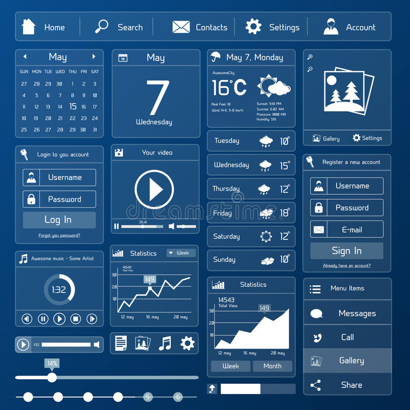 Flat user interface template. Flat user interface design template page menu and layout vector illustration stock illustration