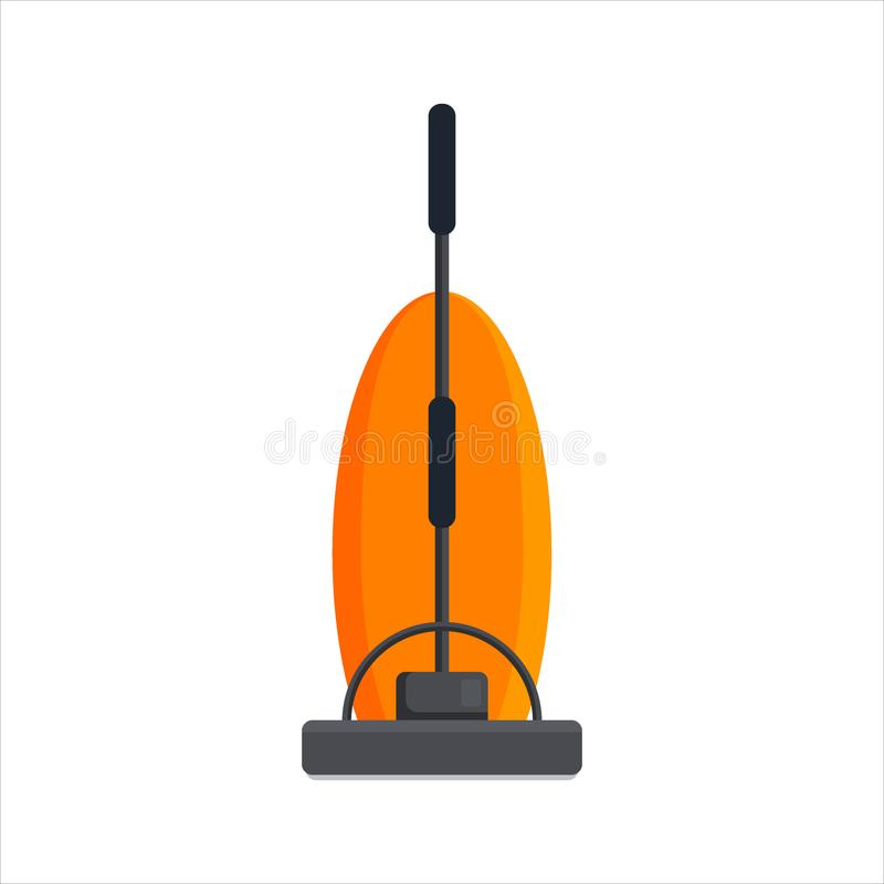 Flat vacuum cleaner icon logo isolated on white background. Electrical hoover for house cleaning. Household equipment -. Vector illustration royalty free illustration
