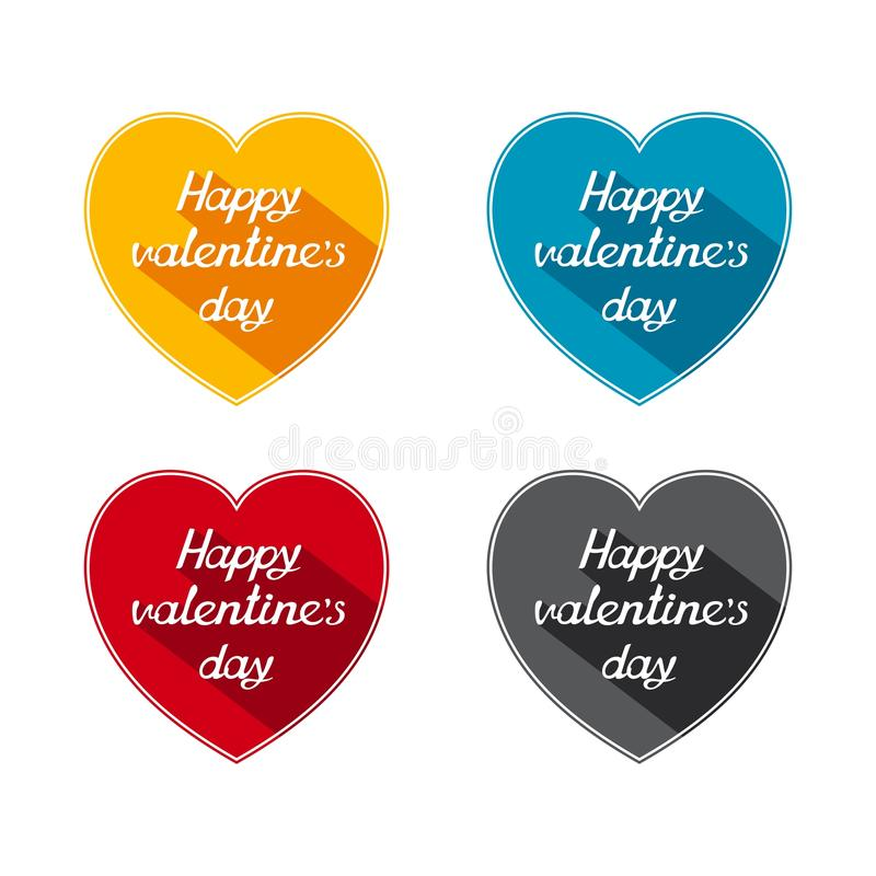 Flat Valentines day icons stock photography