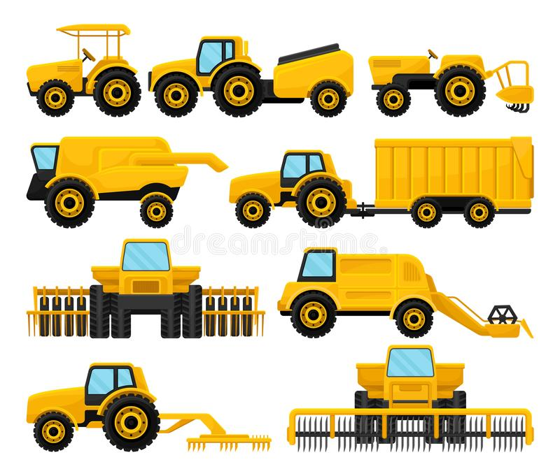 Flat vecto set of yellow agricultural machinery. Tractors and combine harvesters. Farm vehicle. Equipment for field work vector illustration