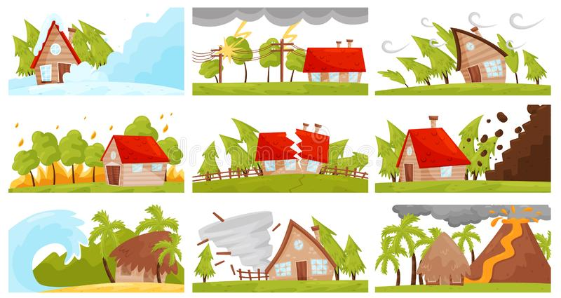 Flat vectoe set of natural disasters. Wildfire, volcanic eruption, avalanche, strong tornado, destructive earthquake royalty free illustration