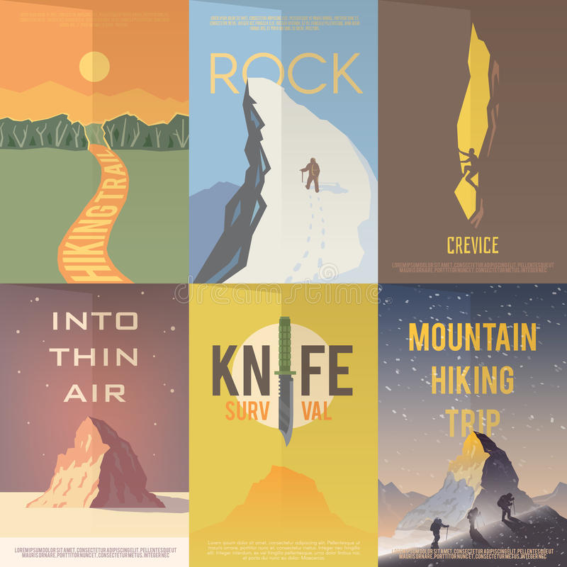 Flat vector advertising posters. Climbing, Hiking. Set of flat vector advertising posters on the theme of Climbing, Trekking, Hiking, Walking. Sports, outdoor royalty free illustration