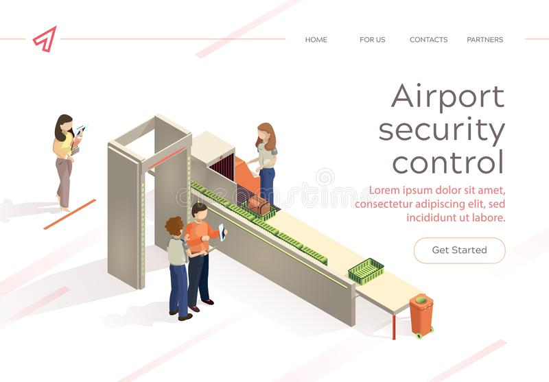 Flat Vector Airport Security Control Baggage Check. Control Aviation Security in Airport Building. Woman and Man at Airport are Inspecting Baggage Passengers vector illustration