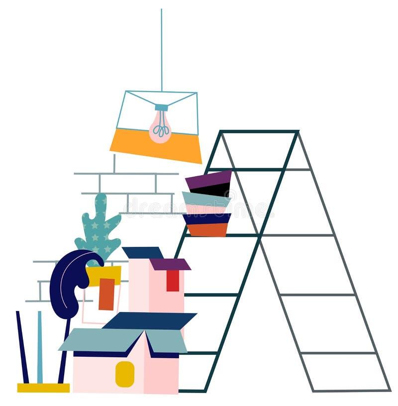 Flat vector apartment room renovation illustration. Repair and construction concept. stock illustration