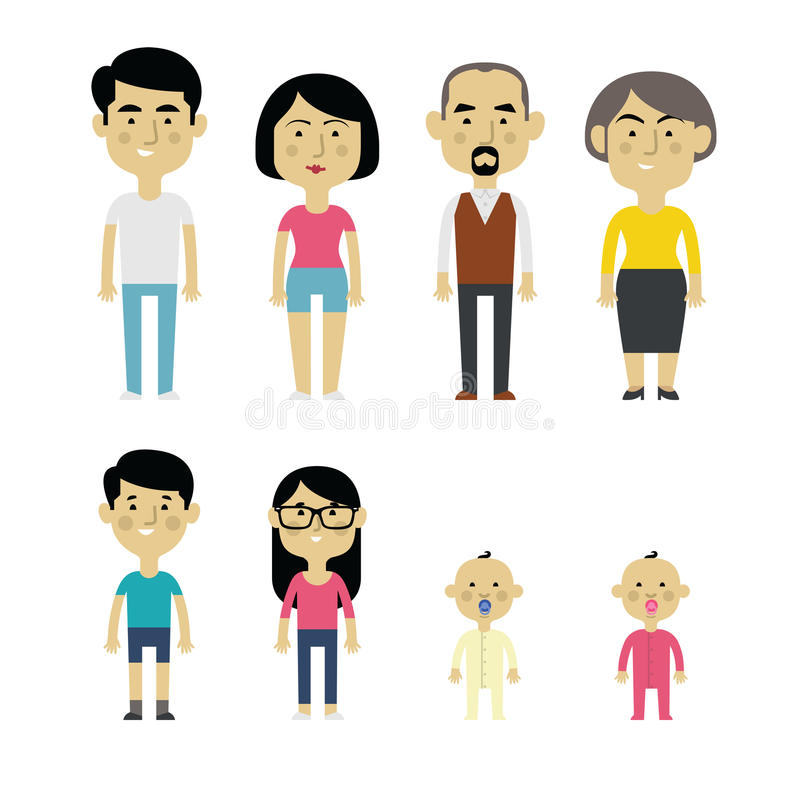 Flat Vector Asian Family Members. Parents, Grandparents, Children and Baby royalty free illustration