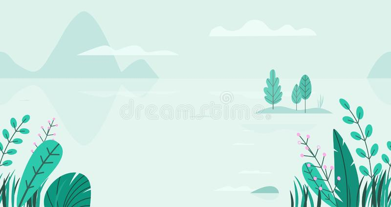 Flat vector background of spring landscape with minimal trees, lake, mountains, flowers, grass. Fantasy nature seamless royalty free illustration