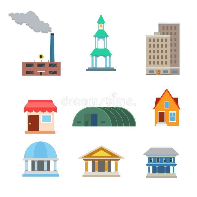 Flat vector buildings website app icon: plant shop municipal. Flat style modern classic buildings web app concept icon set. Factory plant chapel chantry oratory stock illustration