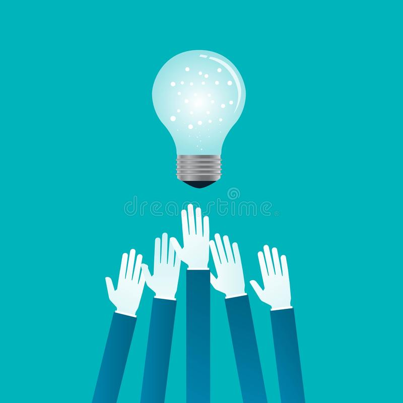 Flat vector business people hand with light bulb stock illustration