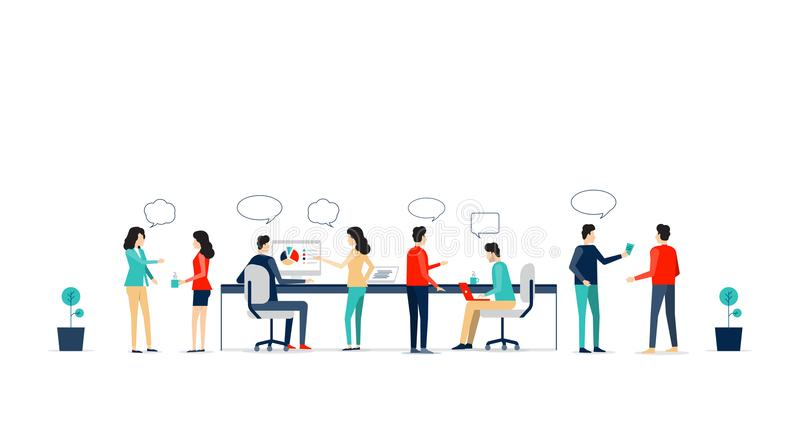 Flat vector business team working collaboration royalty free illustration