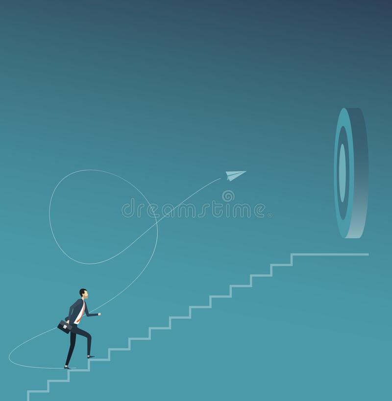 Flat vector businessman focus and walking to business goal target concept vector illustration