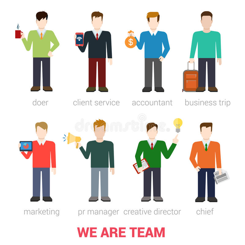 Free Flat Vector Businessmen Company Team Staff People Stock Photography - 59052512