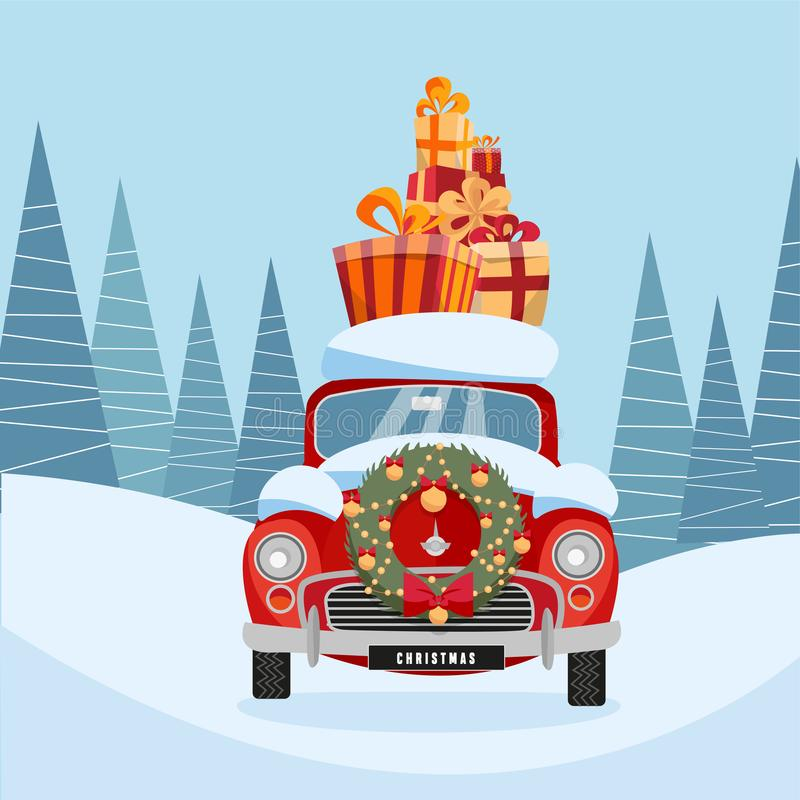 Flat vector cartoon illustration of retro car with present on the roof. Little classic red car carrying gift boxes on its rack. royalty free illustration