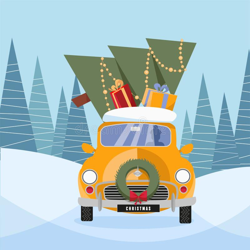 Flat vector cartoon illustration of retro car with presents and christmas tree on the top. Little classic yellow car carrying gift vector illustration