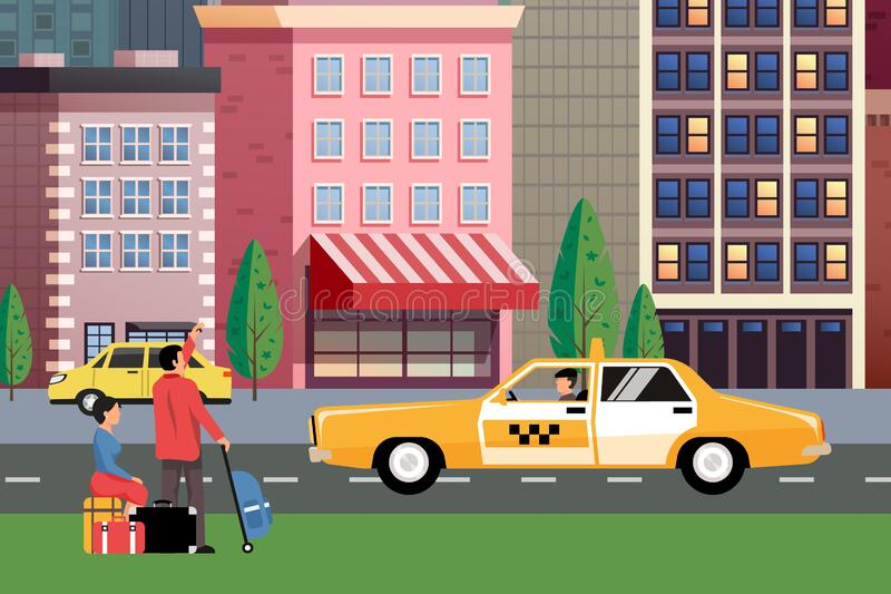 Flat vector cartoon style illustration urban landscape street. With cars, skyline city office buildings, family houses in small town and mountain green trees vector illustration