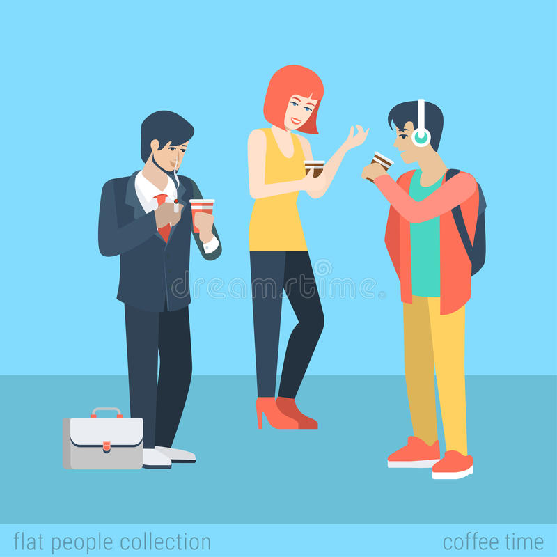 Flat vector casual people drink coffee and smoking cigarette royalty free illustration