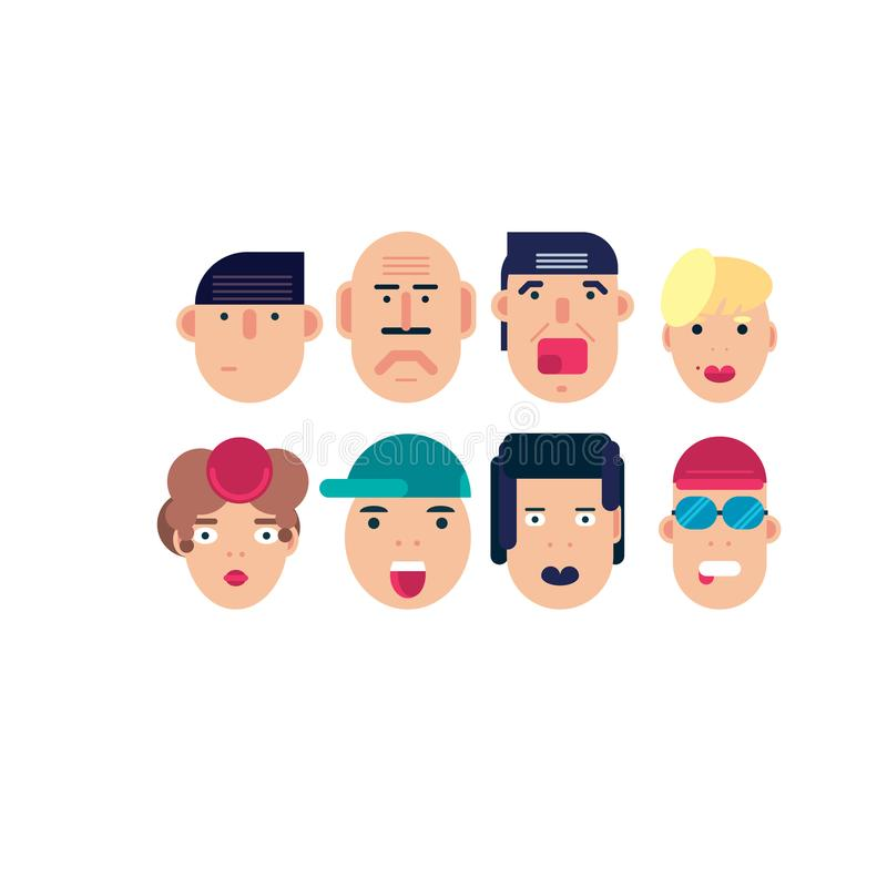 Flat face icon set stock illustration